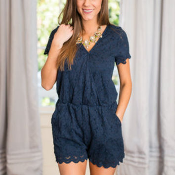 See You At Sunset Romper, Navy