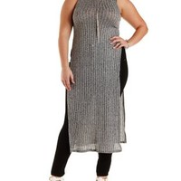 Plus Size Gray Combo Mock Neck Side Slit Maxi Top by Charlotte Russe
