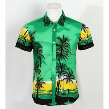 Hot Men Aloha Shirt Hawaiian Cruise Tropical Luau Beach Hawaiian Party Palm Fluorescent green L normal version