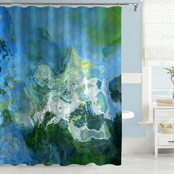 Abstract art shower curtain, blue, green and white shower curtain, contemporary shower curtain, Rise Up