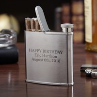 2-in-1 Engraved Hip Flask & Cigarette Holder