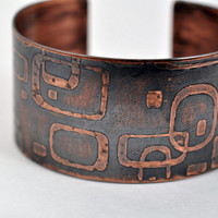 Mod Etched Copper Cuff Bracelet by KarlaWheelerDesign on Etsy