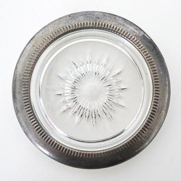 Vintage Glass Silverplate Coasters