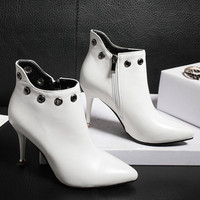 Zip Rivet Pointed Tote Stiletto Heel Ankle Boots
