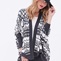 LOVE 21 Geo Striped Cardigan Charcoal/Ivory