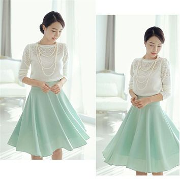 New Brand High Quality 7XL Plus Size Solid Swing Summer Women Chiffon Faldas Jupe Taille Haute Knee Length Pleated Skirt