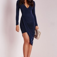 Missguided - Plunge Asymmetric Wrap Dress Navy