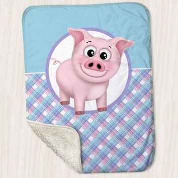 "Pig Sherpa Fleece Baby Blanket - Pink Blue Purple Plaid Pattern cute Happy Pig - Size 30"" x 40"" - Made to Order"