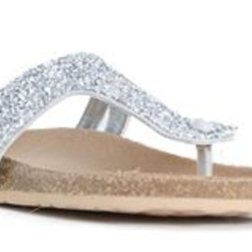 Soda Lezena Silver Glitter Sandals for Women LEZENA-S-PALE GREY