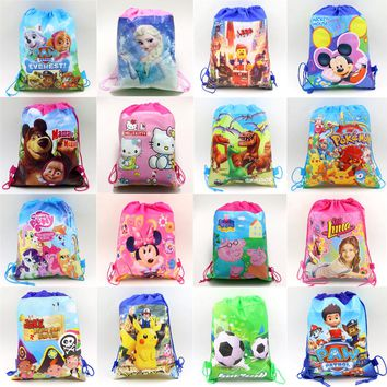 happy birthday party decorations kids soy luna Non-Woven Fabric Drawstring Mickey Gift Bags Ninja Turtle Supplies unicorn