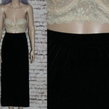 90s High Waist Maxi Skirt Crushed Velvet Black Black Grunge Hipster Witchy Boho Goth Gothic Festival Gypsy L XL Waisted