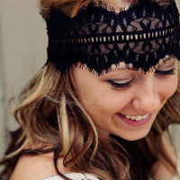 Black Lace Headband by BglorifiedBoutique on Etsy
