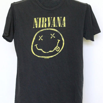 Nirvana T Shirt Mens Small Unisex Womens Tee Shirt 90s 1990s Faded Black Vintage Kurt Cobain Band Distressed Well Worn Smiley Face