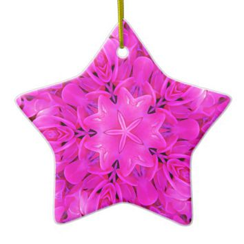 Kaleidoscope Design Hot Pink Floral Art Ceramic Ornament