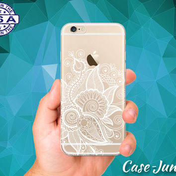 White Floral Henna Flower Pattern Ornate Tattoo Hipster Mandala Custom Clear Transparent Rubber Case Cover For iPhone 6 and iPhone 6 Plus +