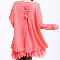 Pink Sleeve Lace Top Dress with Bow