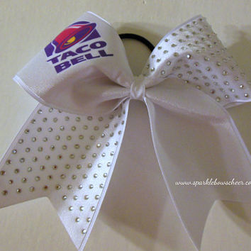 Taco Bell Rhinestone Large Cheer Bow Hair Bow Cheerleading