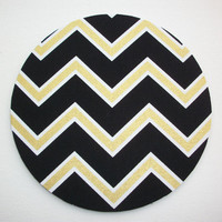 Mouse Pad mousepad / Mat - round - black and Shiny gold chevron - Computer Accessories Geekery Custom Desk Coworker Gifts Office Gifts