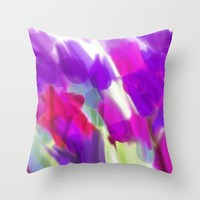 Meadow Flowers Abstract 2 Throw Pillow by Jen Warmuth Art And Design