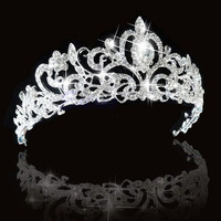 Bridal Princess Austrian Stunning Crystal Hair Tiara Wedding Crown Veil Headband