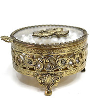 Matson Antique Gold Gilt Ormolu Jewelry Box French Vanity Filigree Thistle Glass Casket