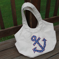 Appliqued Purse  nautica design by Oceanlvrcrafts on Etsy