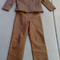 80s Vintage brown leather pantsuit - small -- size 6 - Clio from 'Robinsons' department store -