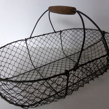 Antique French Wire Oyster Basket