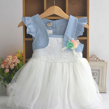 Rustic Flower Girl Tutu Dress White or Pink
