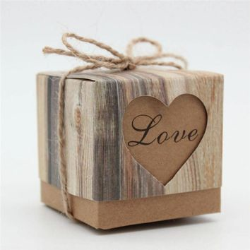50pcs/Retro Kraft Paper Candy Hollow Heart Wedding Favors Gifts Boxes Party Decoration Supplies