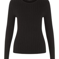 Black Long Sleeve Wide Ribbed Top