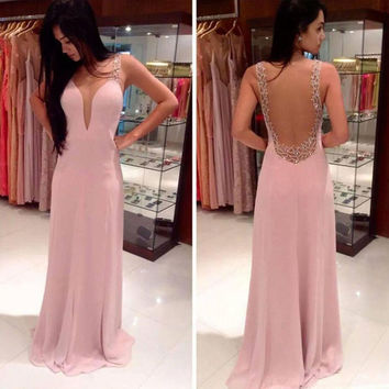 Deep V Bridesmaids Pink Dress Plus Size Wedding Backless Hand Made Beading Chiffon Prom