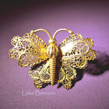 Brooch Pin 800 Silver Gold Wash Butterfly Vintage Filigree