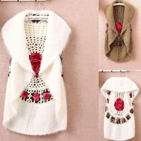 women's crochet cape vest sweater outerwear  casual cardigan women sweater