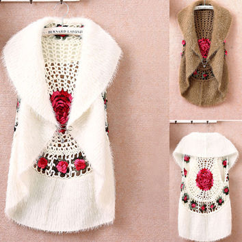 Hot sale New Fashion High Quality Autumn Winter women's crochet cape vest sweater outerwear  casual cardigan women sweater 1210