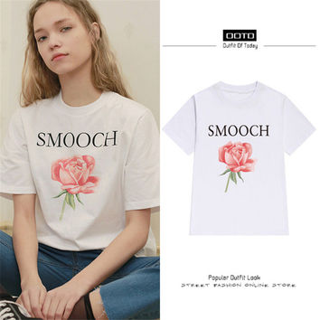 New Fashion Women Summer T shirts Female Letter SMOOCH Rose Floral Print t-shirt Short Sleeve Plus Size Woman tops 72535 SM6