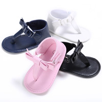 Hongteya 2017 Summer PU Leather Baby Shoes Infant Toddler Boy Girls sandals Kid Big Bow Newborn baby sandals Thongs Shoes