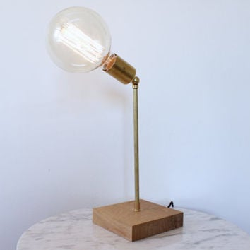 Brass And Wood Desk Lamp // Modern Rustic Nautical // Exposed Bu