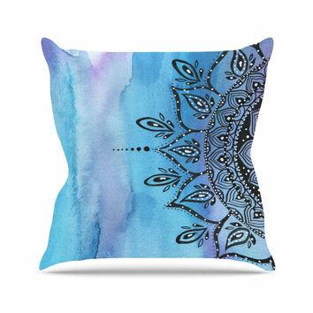 "Li Zamperini ""Blue Mandala"" Aqua Black Throw Pillow"