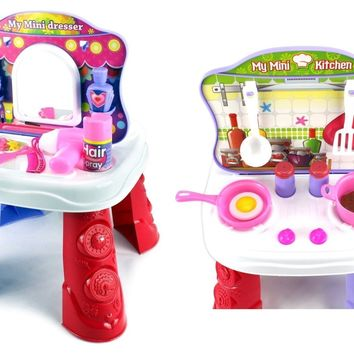 My Mini 2-in-1 Kitchen & Vanity Dresser Pretend Play Toy Table Playset w/ Access