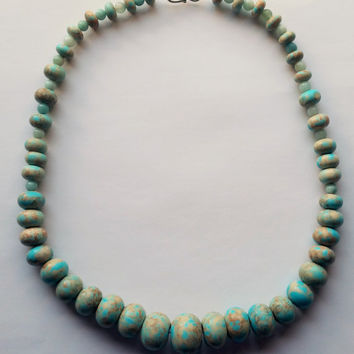 Graduated howlite necklace, soft turquoise color. 18 inches in length, in the turquoise family. soft green blue and tans. Made in Oregon