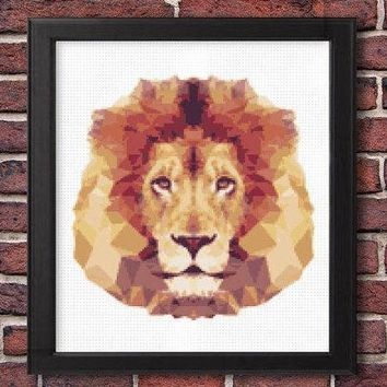 Modern Geometric Lion Cross Stitch Pattern