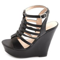 Strappy Huarache Platform Wedges by Charlotte Russe - Black