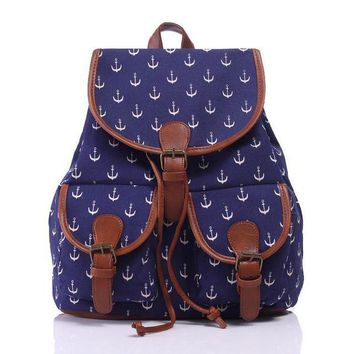 ONETOW Day-First? Navy Blue Anchor Canvas Backpack Casual Daypack