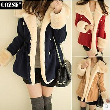 New 2015 Cute Loose Style Warm Elegant Women Down & Parkas Korean Style Casual Double Breasted Women Coats Free Shipping J307