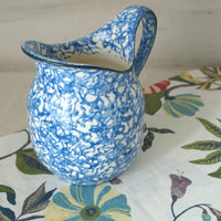 Blue and White Stangl Pitcher, Blue Ceramic Utensil Crock, French Farmhouse Pottery Pitcher