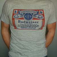 Budweiser Beer t-shirt new vintage style bud light XS-3XL heather grey