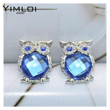 ESBONFI New Design Crystal Women Charms Owl Stud Earrings Cute Colors Fashion Jewelry White Silver Color Trendy For Wedding E298