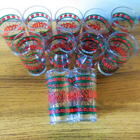 11 Season's Greetings Glasses, Cera Glass Con Cora Christmas Highball Glasses, Christmas Tumblers, Cera Houze Stained Glass Cocktail Glasses