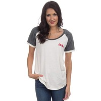 Ole Miss Vintage Tailgate Tee in White and Heathered Grey by Lauren James